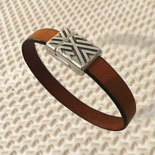 ETHNIQUE métal argenté et cuir, 2 couleurs au choix