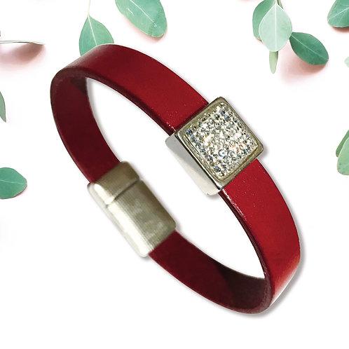 STRASS, métal argenté et cuir, 1 couleur rouge Hermes