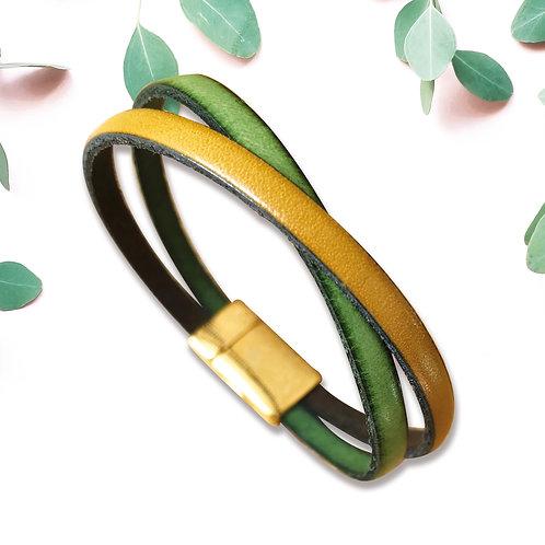 INFINI duo cuir et fermoir magnétique, 3 couleurs au choix