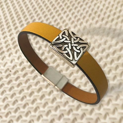 ENTRELAC métal argenté et cuir, 1 couleurs au choix