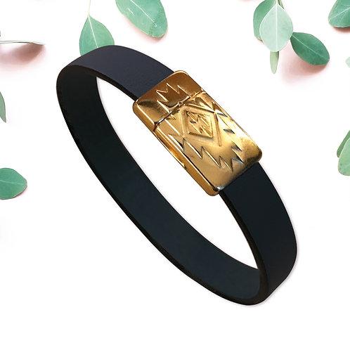 INCA, fermoir flashé or et cuir 6 couleurs au choix