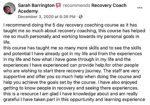 Sarah recommends Recovery Coach Academy.