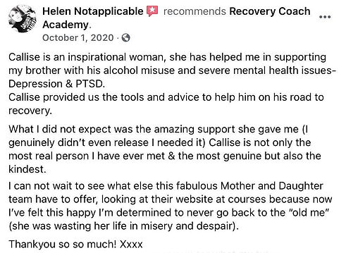 Helen recommends Recovery Coach Academy.