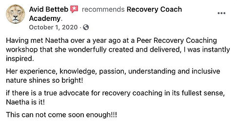 Avid recommends Recovery Coach Academy.j