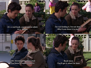 Memes of Rory Gilmore and Jess on Gilmore Girls; Jess calls Rory a book tease