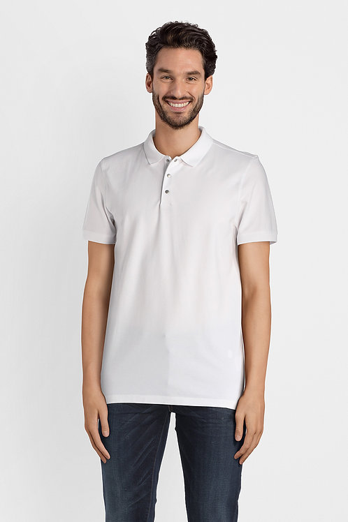Polo shirt in white jersey