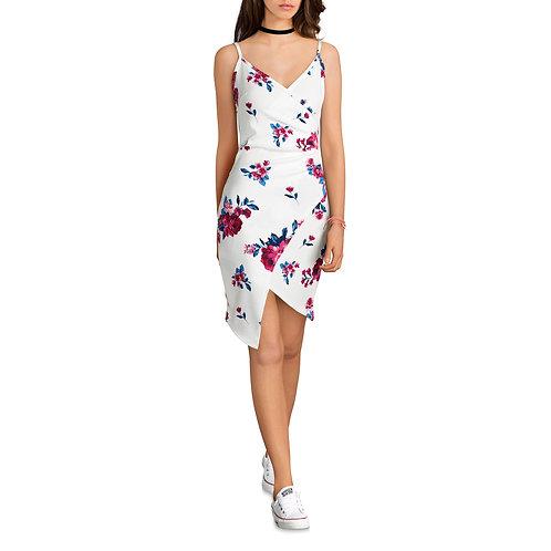 Juniors' Pleated Asymmetrical Wrap Dress