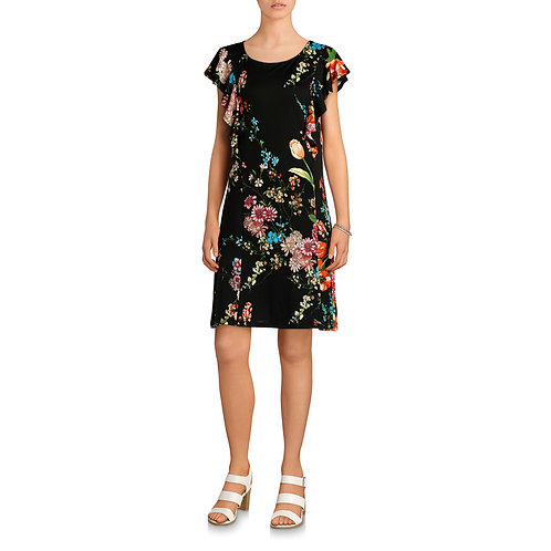 Allison Brittney Women's Floral Sleeveless Ruffle Detail Dress
