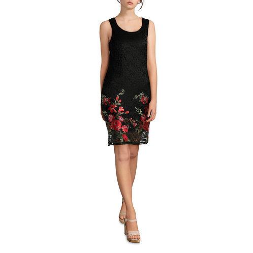 Allison Brittney Women's Asymmetrical Neck Embroidered Dress
