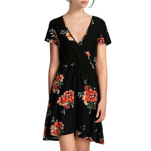 Juniors' Yummy Short Sleeve Wrap Dress