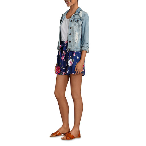 Women's Printed Fashion Shorts with Tie Waist