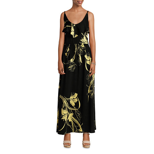 Allison Brittney Women's Ruffle Neck Maxi DressDress