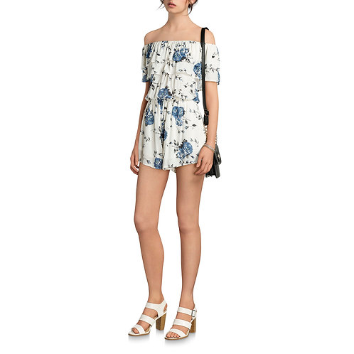Women's Floral On and Off the Shoulder Romper