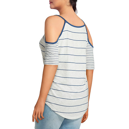 Junior's Plus Cold Shoulder Stripe Tee