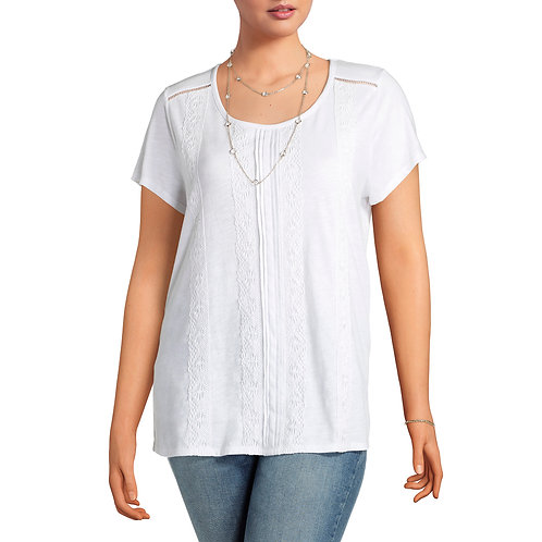Terra and Sky Women's Plus Lace Front Tee
