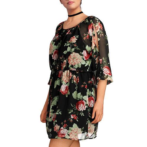 Junior's Plus Cold Shoulder Floral Print Sun Dress