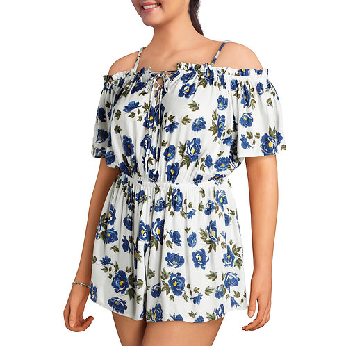 Junior's Plus Off Shoulder Floral Print Romper with Ruffle Shorts and Tie Front
