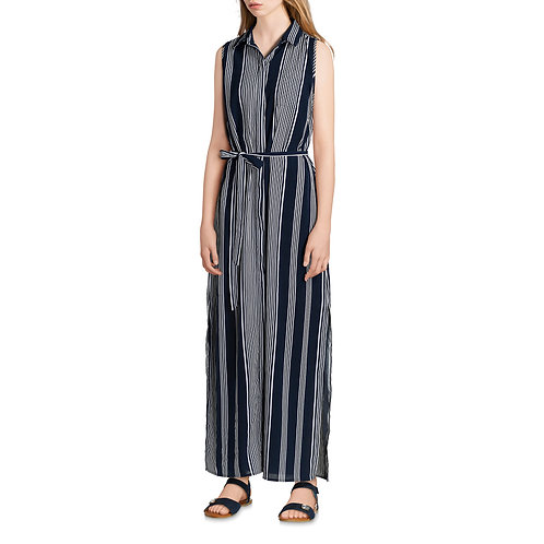 Women's Striped Maxi Shirt Dress