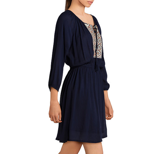 Juniors' Embroidered Tie Front Dress