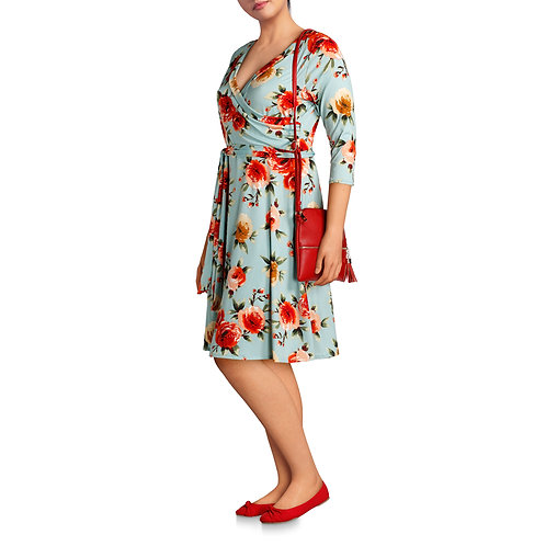 Women's Plus 3/4 Sleeve Classic Wrap Dress