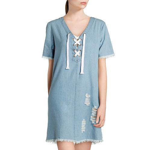 Derek Heart Juniors' Short Sleeve Distressed Denim Lace-Up Dress