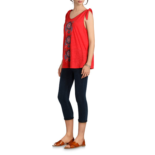 Women's Graphic Tank with Tie Detail