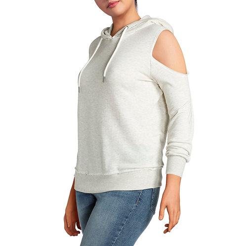 Junior's Plus Cold Shoulder Sweatshirt