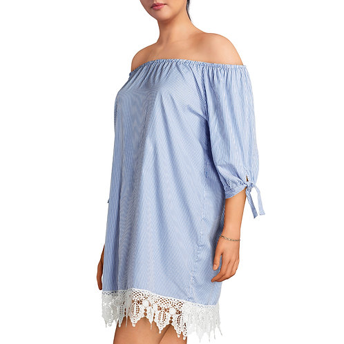 Juniors' Plus Off Shoulder Striped Chambray Dress With Crochet Trim