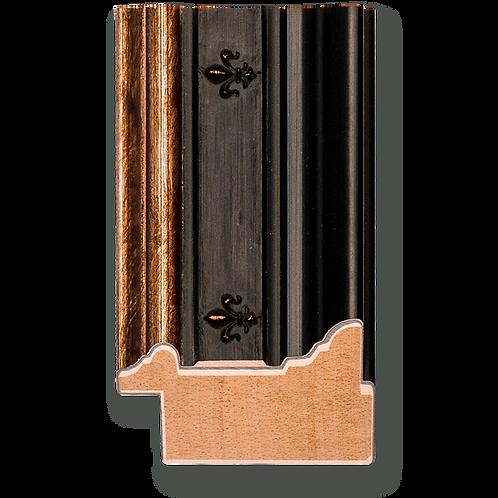 """2"""" Antique Black Cap with Silver Lip and Fleur de Lis Panel: C-7025"""