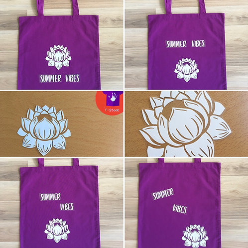 "Kit DIY Tote-bag ""Summer Vibes Fleur de lotus"""