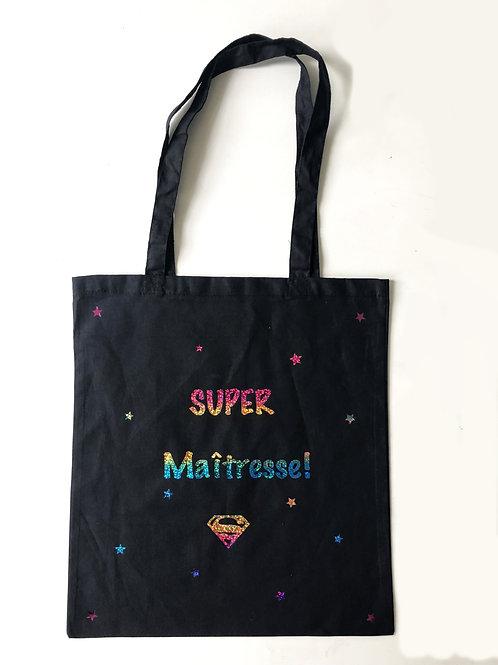 Cadeau original pour la maîtresse: tote-bag Super Maîtresse