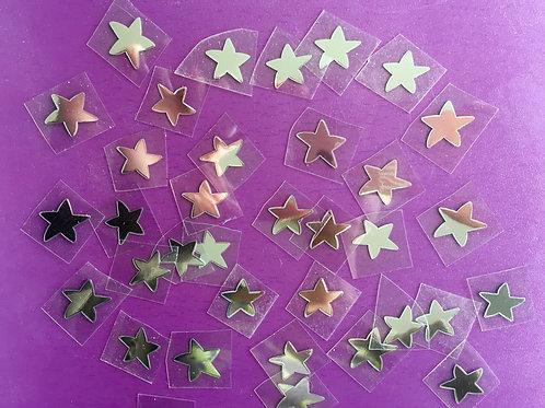 Lot 40 étoiles thermocollantes pour textiles- Argent métal