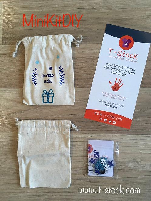 Mini Kit DIY : 1 pochon coton à personnaliser - emballage cadeau durable