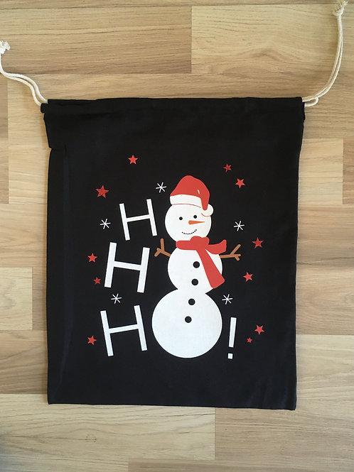 Sac de Noël en coton - emballage cadeau durable - bonhomme de neige