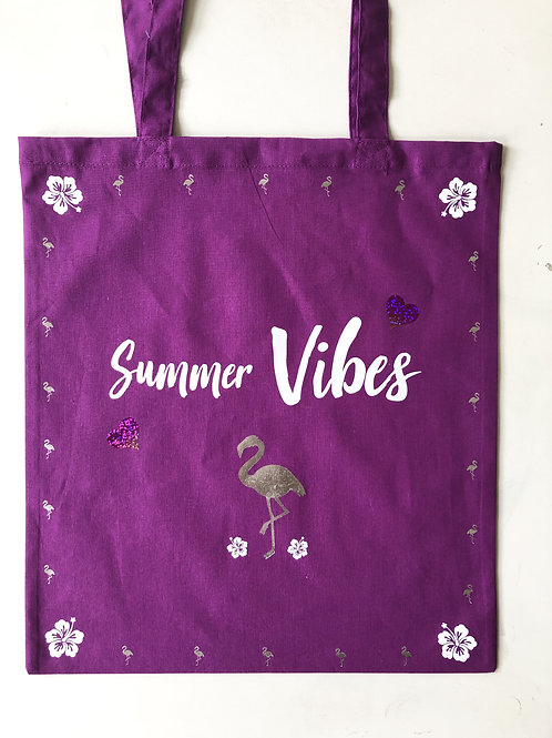 Tote-bag 'Summer Vibes Flamant'