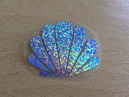 Motif coquillage thermocollant pour textile- bleu ciel paillettes