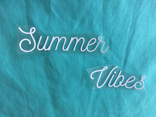 "Texte thermocollant ""Summer Vibes""- Blanc basic"