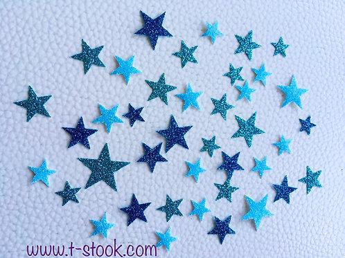 Lot 40 étoiles thermocollantes pour textiles- Assortiment de bleus