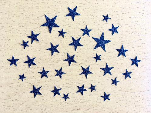 Lot 38 étoiles thermocollantes pour textiles- Bleu nuit paillettes