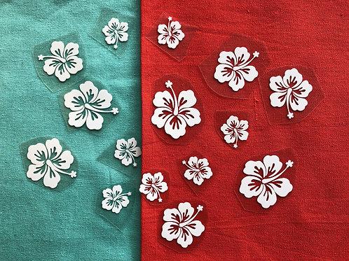 Lot de 15 fleurs d'hibiscus thermocollantes pour textile