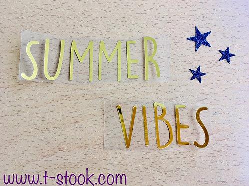 "Texte thermocollant ""Summer Vibes""- doré métal"