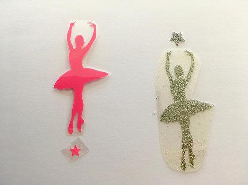 Thermocollant danseuse au choix rose fluo ou argent paillettes