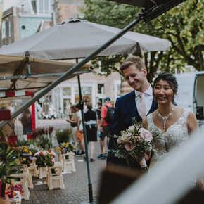 bruiloft, food, leiden, happy couple, flowers, wedding,