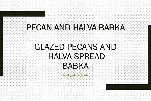 glazed pecans and halva babka