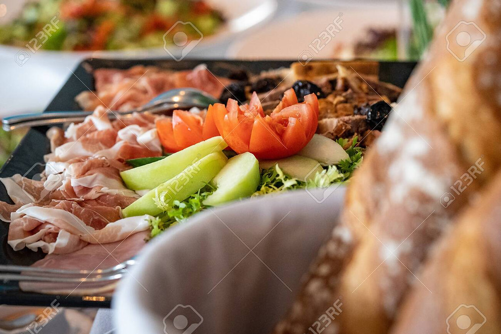 Catering showcase with different food