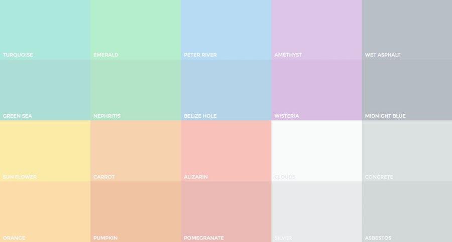 Pastel colors pallete