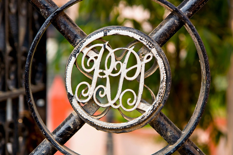 Monogram in a metal door