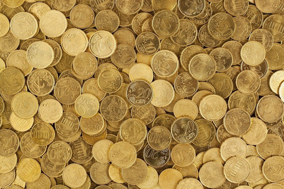 A lot of euro coins