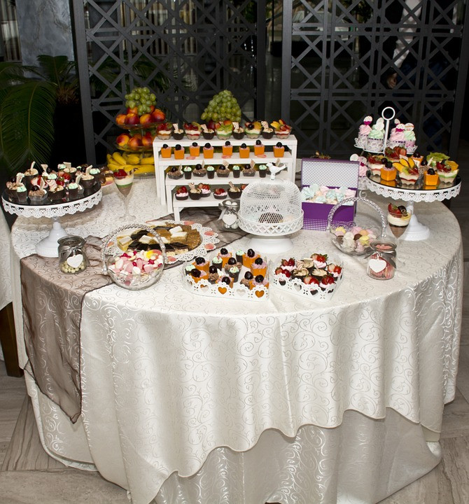 Catering table with a lot of candy