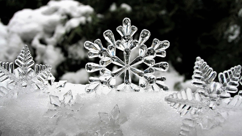 Snowflakes made of ice